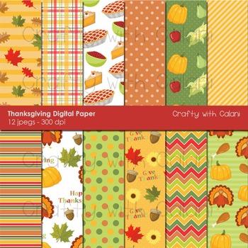 Thanksgiving digital paper, Thanksgiving digital background, Clipart
