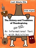 History and Traditions of Thanksgiving Informational Text and Activities for ESL