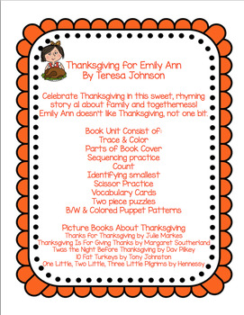 Thanksgiving for Emily Ann   Book Unit