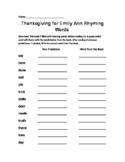 Thanksgiving for Emily Ann Ryhming Words