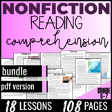 Reading Comprehension Passages {Nonfiction Bundle} Independent Work ELA G6 (PDF)