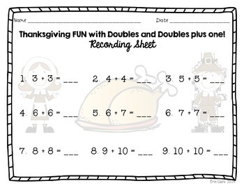Thanksgiving Adding with Doubles and Near Doubles Math Center