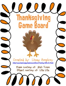 Thanksgiving game board