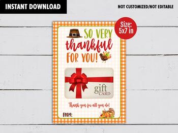 Thanksgiving gift card holder, Thanks for all you do Printable Card