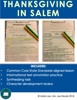 Thanksgiving in Salem: Informational Text Activity