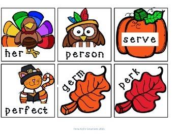 Thanksgiving, ir, ur, er word sort