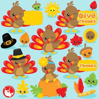 Thanksgiving kawaii  clipart commercial use, vector graphics, digital  - CL1035