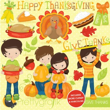 Thanksgiving kids clipart commercial use, vector graphics, digital - CL720