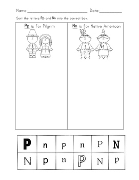 Thanksgiving letter sort activity P is for Pilgrim N is for Native American