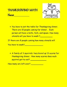 Thanksgiving literacy, writing, math activities on printable worksheets