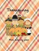 Thanksgiving mini activity pack