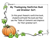 Thanksgiving nonfiction book and grammar sort