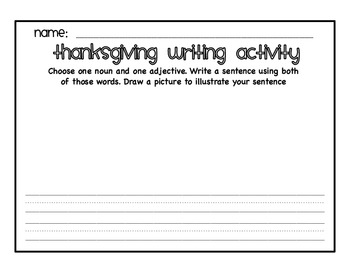 Thanksgiving nouns and adjectives sort *literacy center*
