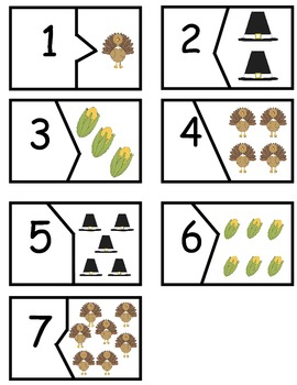 Thanksgiving number match and follow-up worksheets