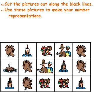 Thanksgiving number representation cut & paste;making sets;Boardmaker special ed