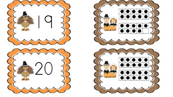 Thanksgiving numbers 1-20 matching