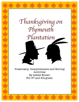 Thanksgiving on Plymouth Plantation - book study, writing