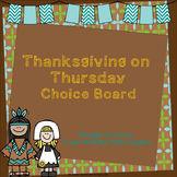 Magic Tree House Thanksgiving on Thursday Reading and Writing Choice Board