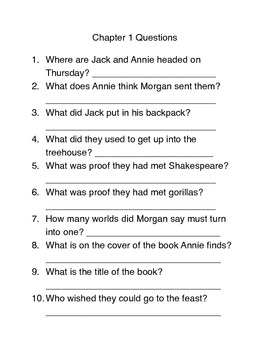 Thanksgiving on Thursday Magic Tree House #27 Book Study Guide Questions