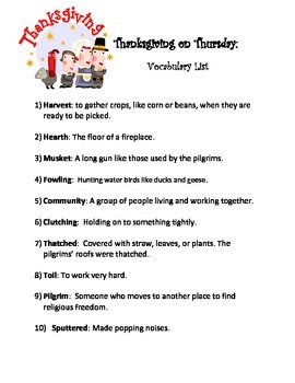Thanksgiving on Thursday-Spelling and Vocabulary Lists
