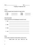 Thanksgiving on Thursday worksheet Chapter 1 & 2