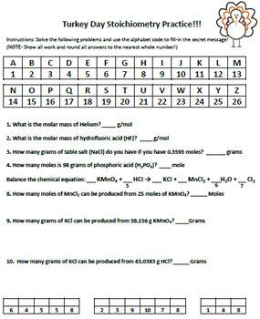 Thanksgiving or Easter Stoichiometry Practice Worksheet