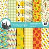 Thanksgiving owl papers, commercial use, scrapbook papers - PS764