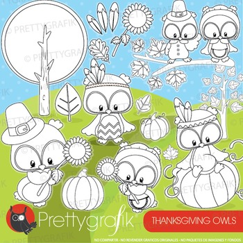 Thanksgiving owl stamps commercial use, vector graphics, images  - DS927