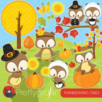 Thanksgiving owls clipart commercial use, vector graphics, digital - CL927