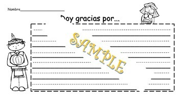 Thanksgiving paper in Spanish / Papel del dia de accion de gracias