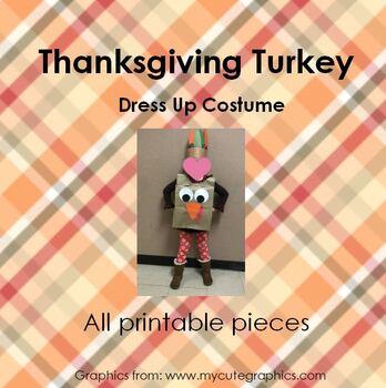 Thanksgiving paper sack TURKEY costume  pattern - all printable