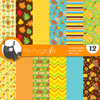 Thanksgiving papers, commercial use, scrapbook papers - PS829