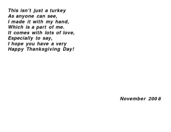 Thanksgiving poem with students hand