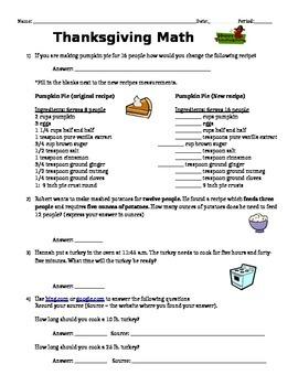 Thanksgiving recipe math