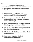 Thanksgiving research packet