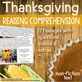 Thanksgiving Reading Comprehension Passages and Questions (Non-Fiction Text)
