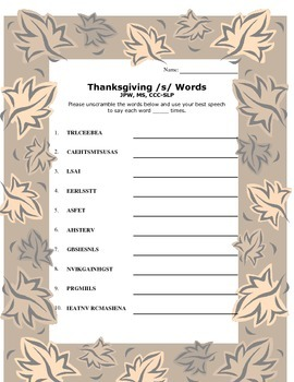 Thanksgiving /s/ Word Scramble
