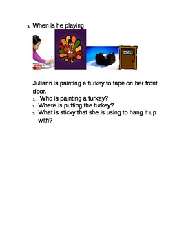 Thanksgiving sentences with wh comprehension questions
