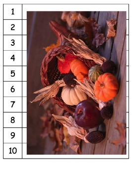 Thanksgiving skip counting pumpkin fall puzzles ESL counting numbers sort