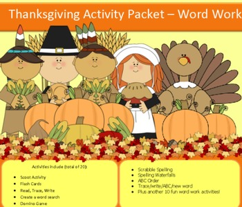 Thanksgiving spelling packet with 15 words...47 pages, NO PREP!