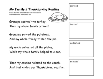Thanksgiving story chant - retelling language and regular past tense verbs