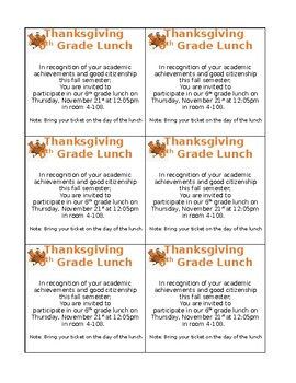 Thanksgiving Student Invitation Cards