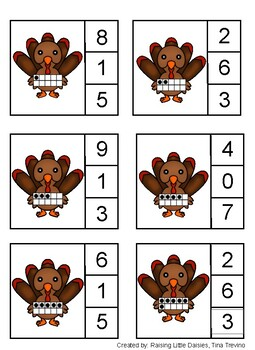 Thanksgiving ten frame clip cards (1-19), turkey numbers, autumn, fall, numbers