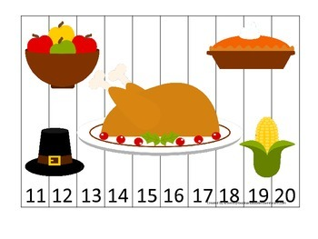 Thanksgiving themed 11-20 Number Puzzle preschool learning activity.  Homesc