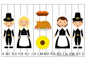 Thanksgiving themed Alphabet Sequence Puzzle.  Preschool Alphabet learning game.