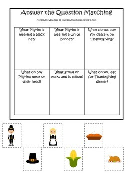 Thanksgiving themed Answer the Question child curriculum game.  Daycare.