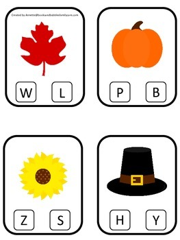 Thanksgiving themed Beginning Sounds preschool learning game. Daycare curriculum
