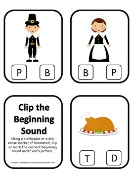 Thanksgiving themed Beginning Sounds preschool learning ga