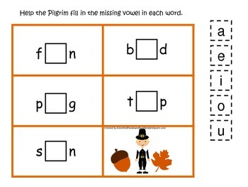Thanksgiving themed CVC #1 preschool homeschool vowel activity.  Curriculum.