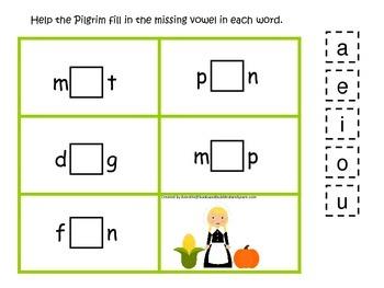 Thanksgiving themed CVC #2 preschool homeschool vowel activity.  Curriculum.